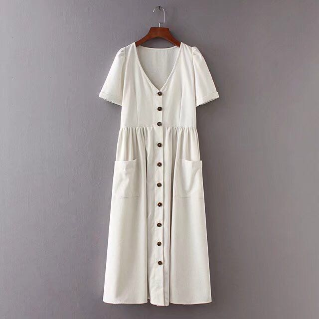 5682f664 Zara inspired button down linen dress, Women's Fashion, Clothes, Dresses &  Skirts on Carousell