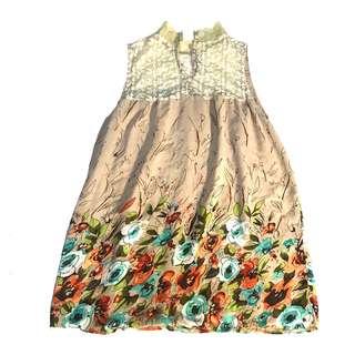 Flower Print One-Piece Dress