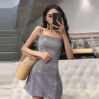 [PO] Checkered Grey Plaid A-Line Dress