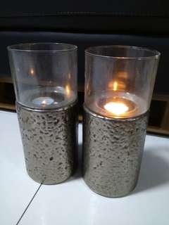 Candleholder x2 metal base /glass top