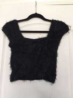 Urban Outfitters fluffy black crop top