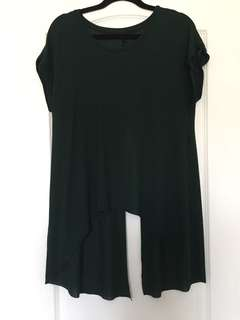 TOPSHOP forest green slit-back shirt