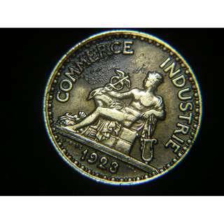 1923年法蘭西總商會(French Chamber of Commerce and Industry)商業之神坐像半法郎黃銅幣