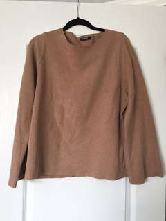 Brown bell-sleeve Zara sweater