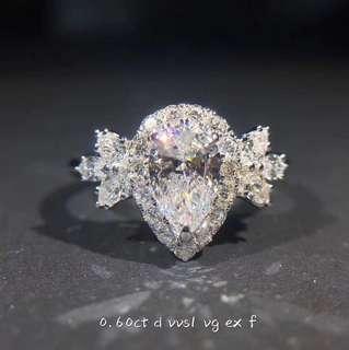 💯GIA VVS1 Pear Brilliant Diamond Ring