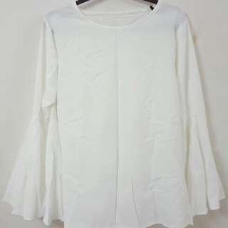 Saloma Flare Sleeve Blouse Top (White) #20under