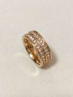 Folli Follie classy Rose Gold plated Pink Crystal Stone Wide Band Ring~ Size 52 玫瑰金粉紅水晶戒指