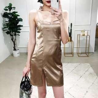 Satin Side Slit Gold Dress