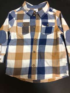 H&M Checkered Shirt in Blue & Brown - Size 1 1/2-2Y