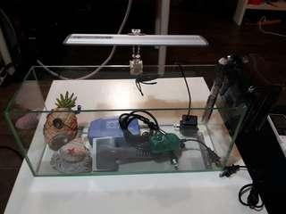 水族箱組/大型過慮器/打氣馬達/溫度調節器/貝殼打泡/鳳梨屋/LED燈夾/玻璃刮刀
