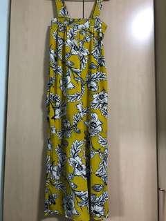 Long mustard floral Jumpsuit