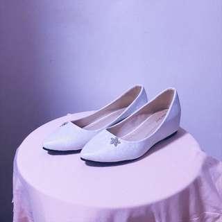White Pearlescent Hidden Heel Pumps