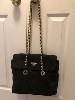 Authentic Prada Tessuto Nylon Golden Chain Bag
