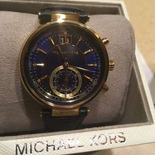 ⌚️🔥💯 auth mk michael kors watch leather and gold