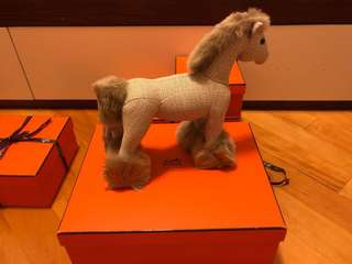HERMES Hermy Cravache Plush Horse PPM Etoupe Clair Silk Italy Authentic 4217824 (New)
