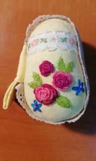 Hand embroidered and sewn pear shaped macaron mini purse accessory keeper keychain
