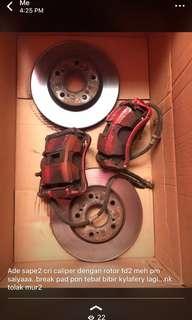 Caliper & rotor fd2 break pad tebal bibir kylafairy..rotor tak penah skim