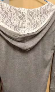🚚 OB蕾絲連帽灰色外套
