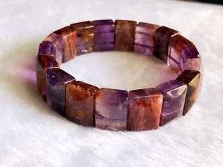 天然幽灵紫钛手排 Natural Amethyst Phantom Quartz Bracelet/Bangle