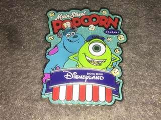 香港迪士尼 徽章 Disney Pin Popcorn & Pretzel Mike Sulley 大眼仔 毛毛