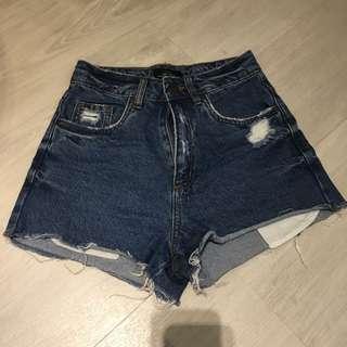 factorie dark wash ripped jean denim shorts