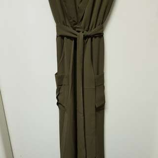 kharki Belted Maxi Dress