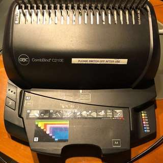 GBC CombBind C210E Binding Machine (worth £427 GBP + Free 3 BN set cover/ back)