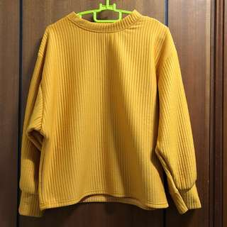 oversized yellow pullover
