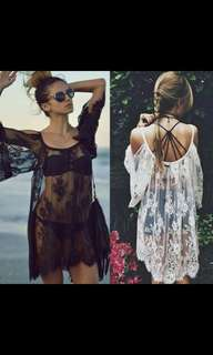 'Preorder' Ulzzang Lace sheer outwear dress * waiting time 15 days after payment is made * chat to buy order