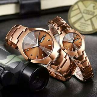 Retro Style Steel Strap Couple Watch WH-Q356