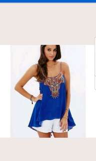 Camilla royal blue shoestring tank with low back