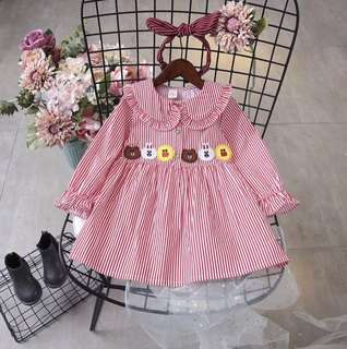 Girl striped cute animal princess dress