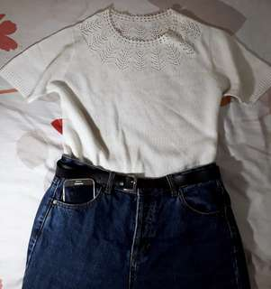 LASER CUT BROKEN WHITE BLOUSE TOP KNIT RAJUT