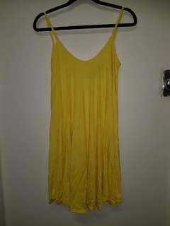 Yellow shoestring dress
