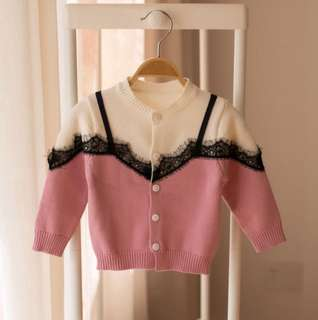 Female baby long-sleeved two strap splice lace edge jacket