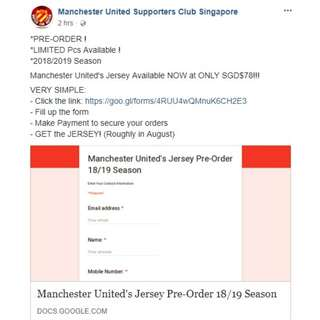 ****Manchester United 2018/19 Home/Away/3rd Kit PRE-ORDER campaign****
