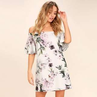 Melissa Retro Floral Printed Off Shoulder Dress