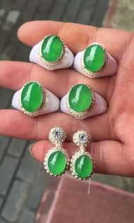 icy green Jadeite Ring / Earring Cabochons