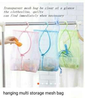 Hanging multi storage mesh bag
