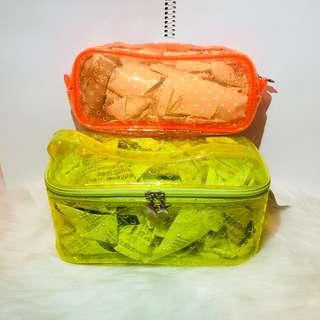 💛🧡螢光黃/螢光橙星星筆袋 文具袋 化妝袋