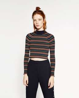 Zara Multi-Stripe Cropped Knit