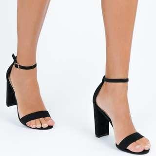 Billini Black Suede Block Heel - Size 9 - Princess Polly Boutique