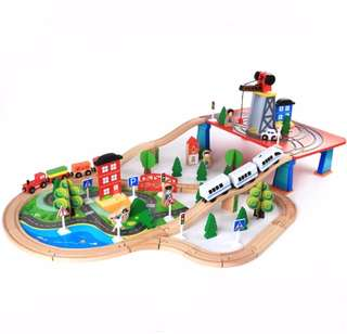 BN 88Pcs Wooden Magnetic Freight Electronic Train High-Low Railway Toy Set