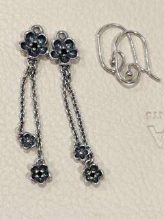 Pandora Wanda's Garden TT Black Spinel Earrings New