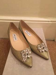 New Jimmy Choo Crystal Gold Glitter Flats
