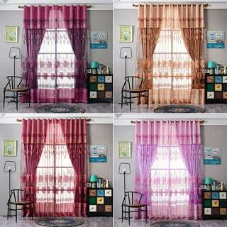 Floral Tulle voile window Curtain 100cmx200 (Preorder)