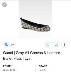 Authentic Gucci Canvass & Leather Ballet Flat