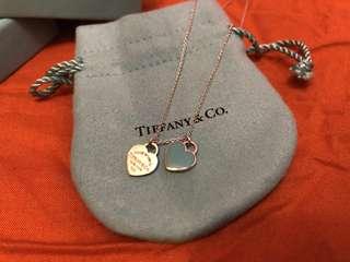🚚 Tiffany&Co 迷你雙色雙心純銀項鍊(免運費)