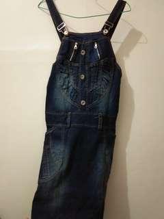 Rompi kodok jeans se lutut fit to L (baru pakai sekali)