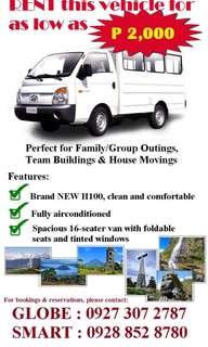 H100 L300 van for rent for hire